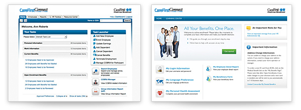 CareFirst Connect screens
